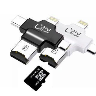 [Mã ELFLASH5 giảm 20K đơn 50K] Đầu Đọc Thẻ Nhớ Micro SD TF Cho Android IPhone 7 6s 8 Plus 4in1 Siêu tiện dụng