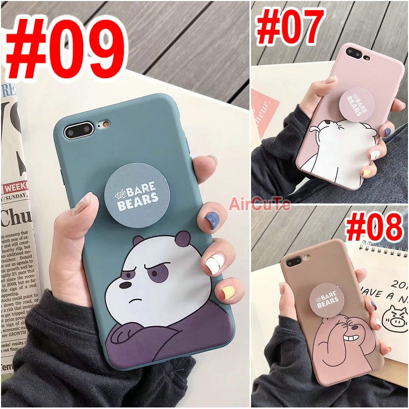 Cassing Samsung A10 A30 A50 A70 M20 J2 J5 J7 J4+ Prime Pro Cartoon Bear White Pink Green Stand Soft Case Cover