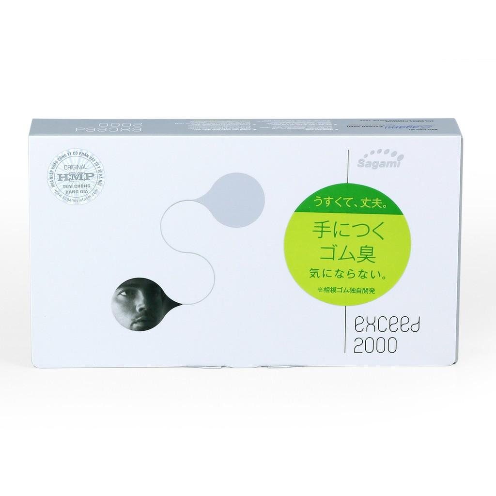 Bao cao su Siêu mỏng - Thắt chống tuột Sagami Exceed 2000 - hộp 12 chiếc