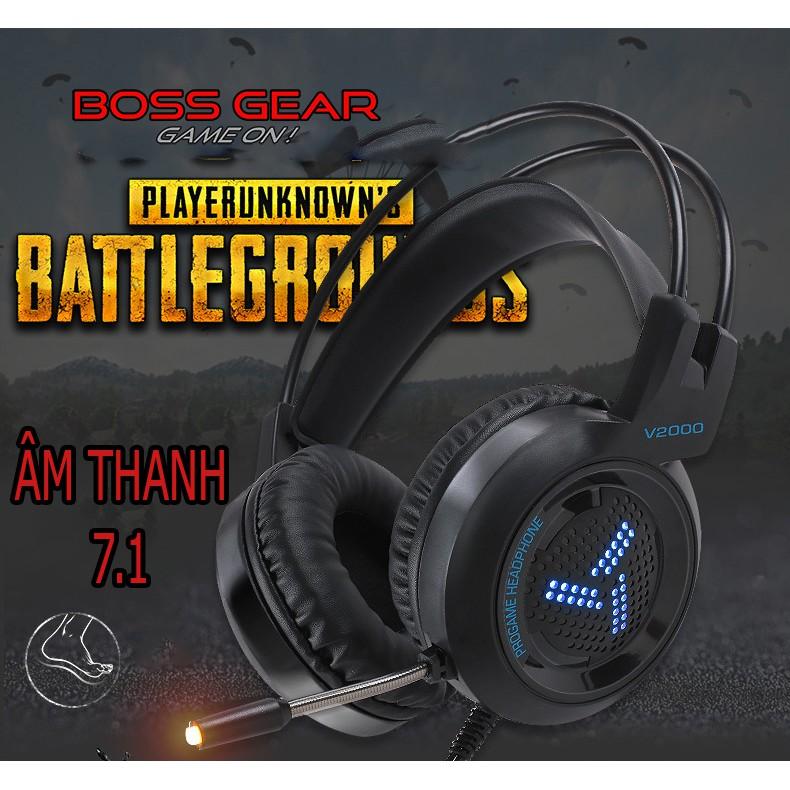 Tai nghe gaming chụp tai V2000 chuyên phòng game cổng USB âm thanh 7.1 kết nối có đèn led MIC,ÂM THANH -dc3422