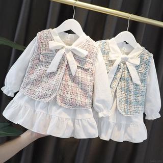 Bộ đầm dài tay thắt nơ + áo khoác sát nách xinh xắn thời trang cho bé gái