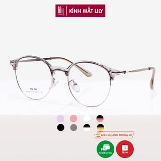 Hình ảnh Gọng kính cận tròn kim loại thời trang nữ Lilyeyewear 2736-0