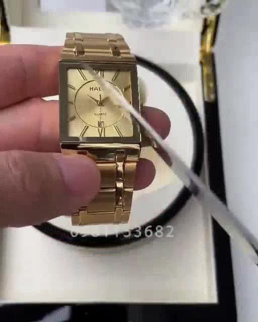 Đồng hồ nam Halei 6868 chính hãng mặt vuông cao cấp sang trọng_Tặng pin cao cấp