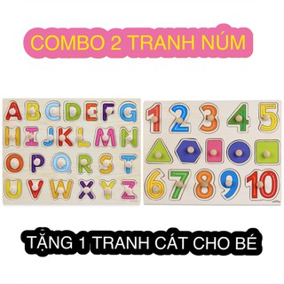 [Đồ chơi gỗ thông minh] Combo bảng chữ cái tiếng anh, bảng số 1-10 và 5 hình khối có núm