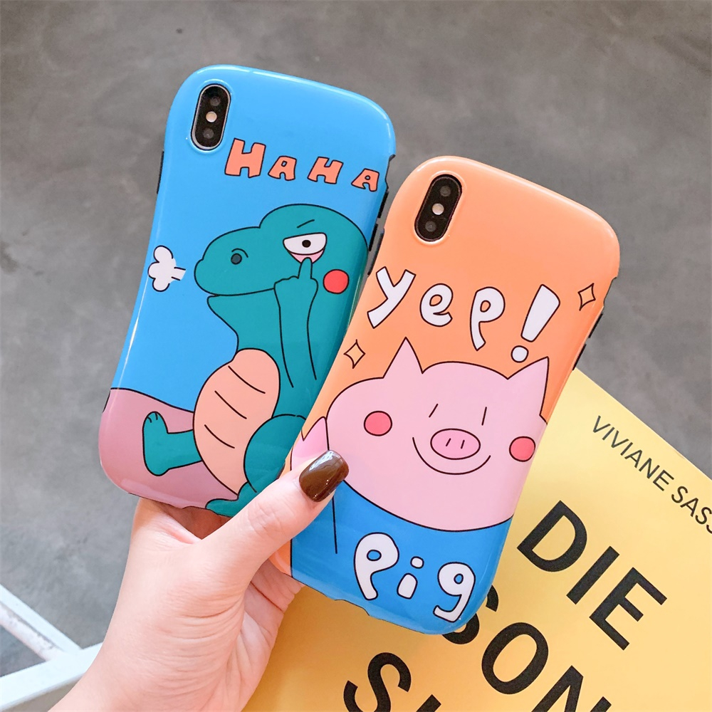 dinosaur pattern iphone case back cover cartoon pig cute TPU silicone case