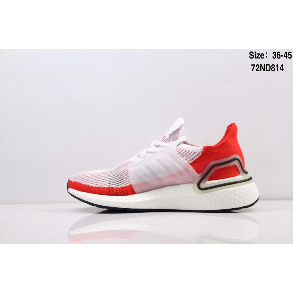 Original Adidas Ultra Boost 19 UB5.0 Super Elastic Popcorn White Red Men's and Women's Running Shoes