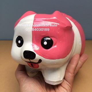 Heo đất handmade chó 1 mắt Hồng size M