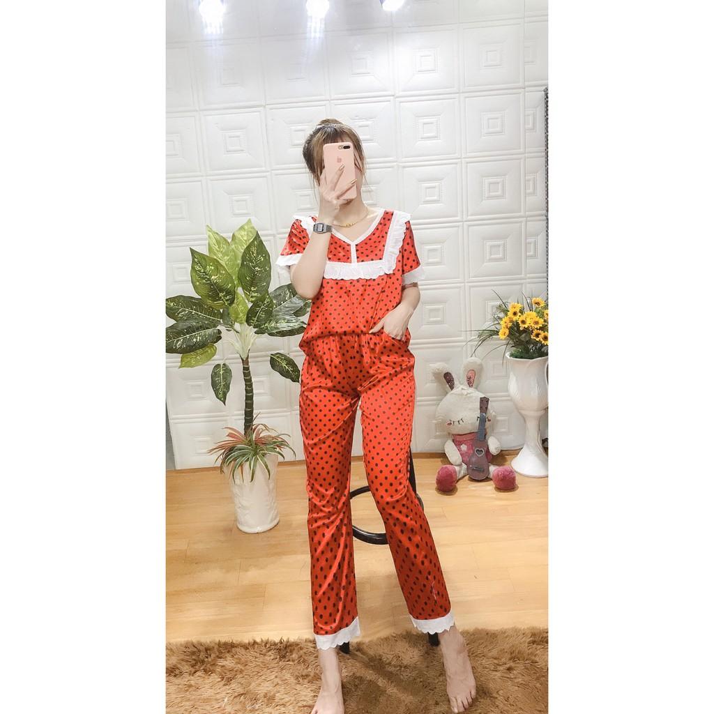 Đồ Pijama Nữ Lụa Ngắn Tay Quảng Châu Cao Cấp Sang Chảnh