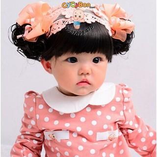 Băng Đô Tóc Giả Màu Cam Nơ- Kèm Tóc Mái Cho Bé Gái