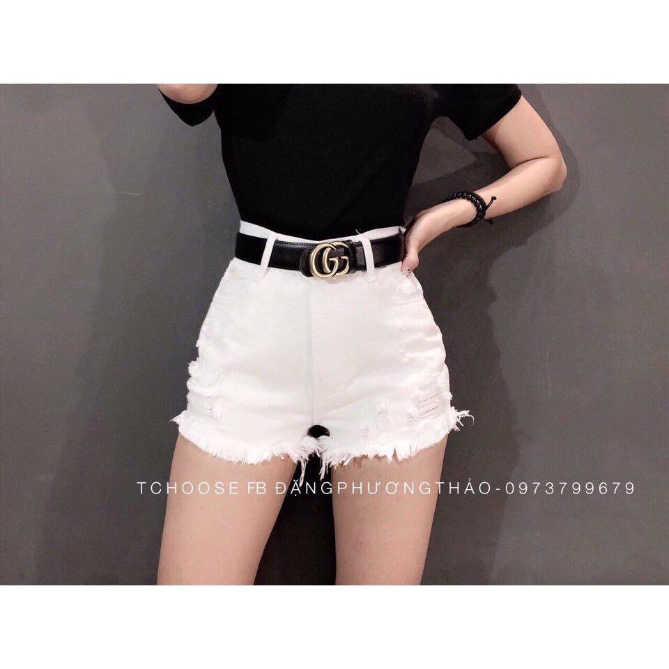 Quần short jean trắng đen rách