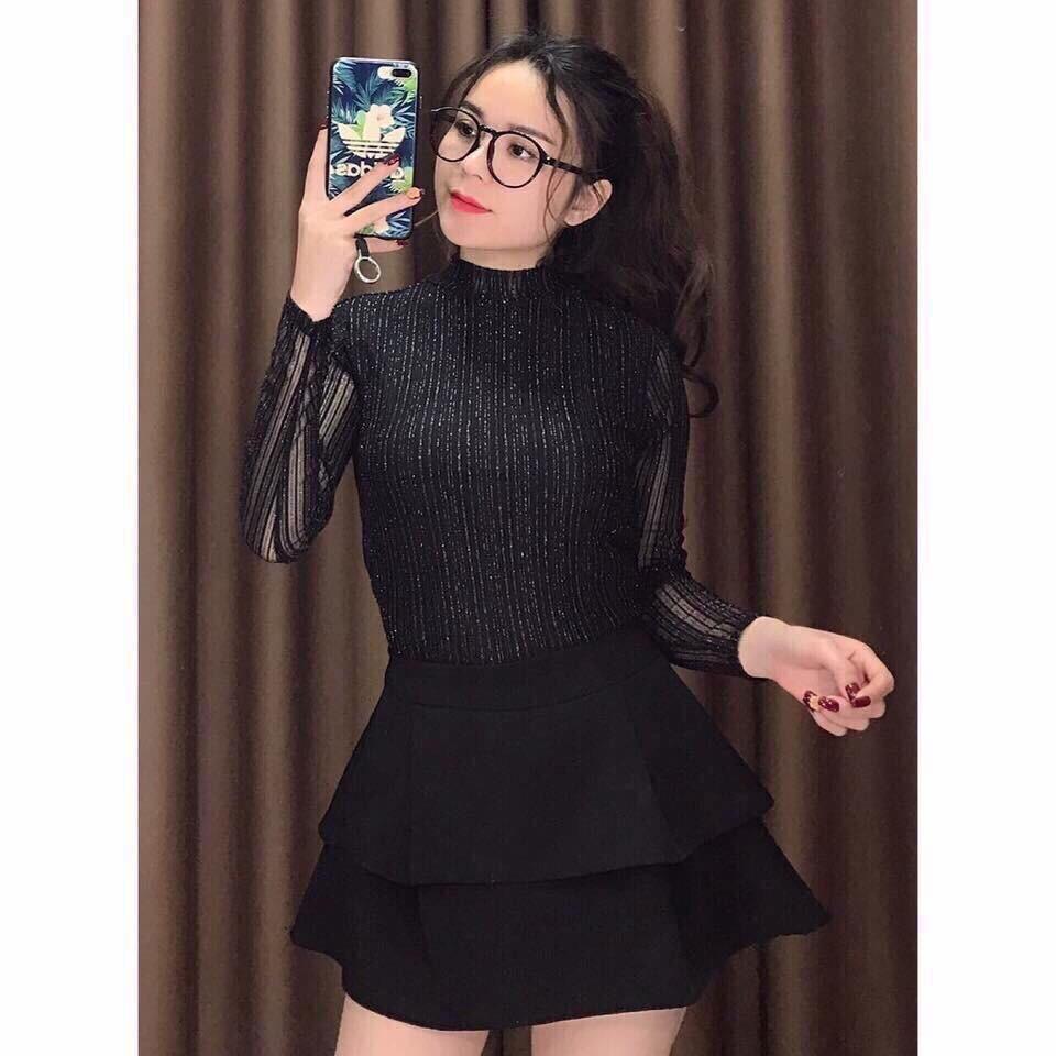 Áo  nhũ cổ 3cm mặc thu đông | SaleOff247