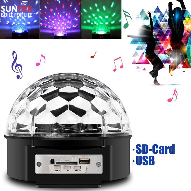 Loa nghe nhạc LED SUNTEK usb thẻ nhớ quả cầu đèn vũ trường có remote