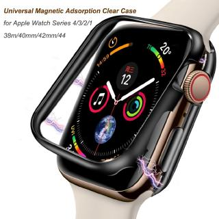 Magnetic Adsorption metal frame Clear Protector Case for Apple Watch Series 4 3 2 1 38 40 42 44 mm