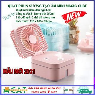 Quạt phun sương mini để bàn gấp gọn kiêm đèn ngủ Magic Cube 3 tốc độ tiện lợi hơn quạt mini cầm tay, quạt tích điện mini