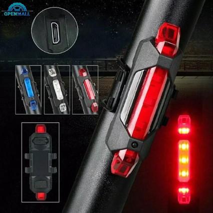 Đèn báo hiệu gắn đuôi xe đạp 5 bóng LED có cổng sạc USB nhiều màu sắc