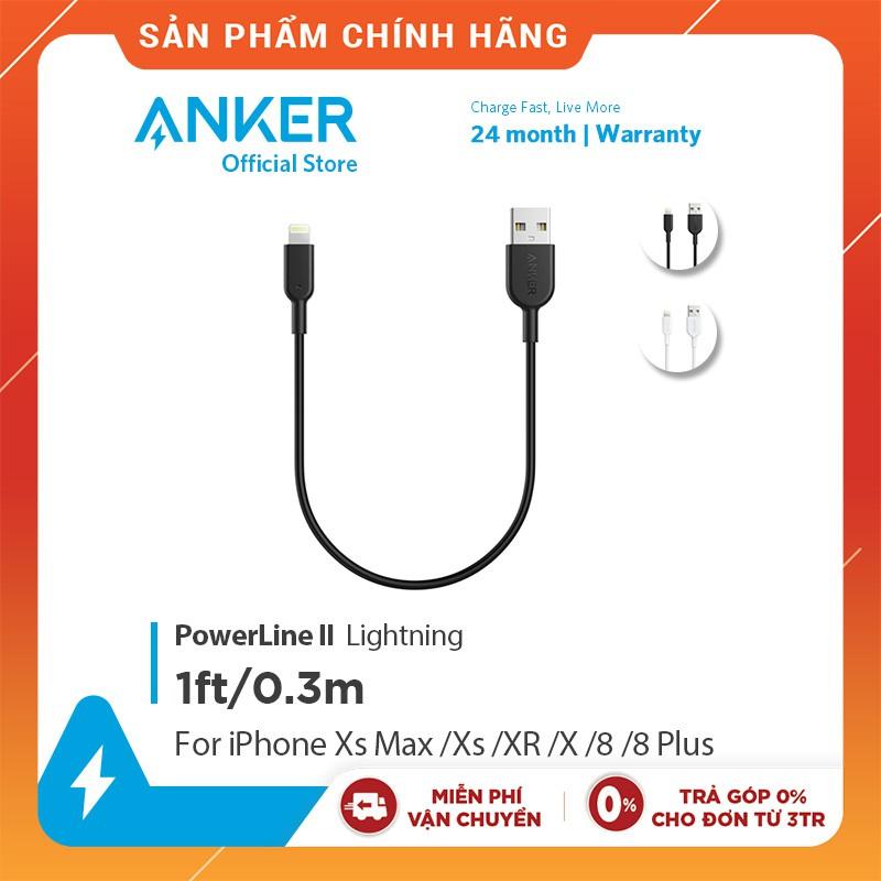 Cáp sạc ANKER Powerline II Lightning - Dài 0.3m - A8431