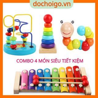 Đồ chơi gỗ phát triển trí tuệ cho bé,combo 4 món đồ chơi montessori dochoigo.vn thumbnail