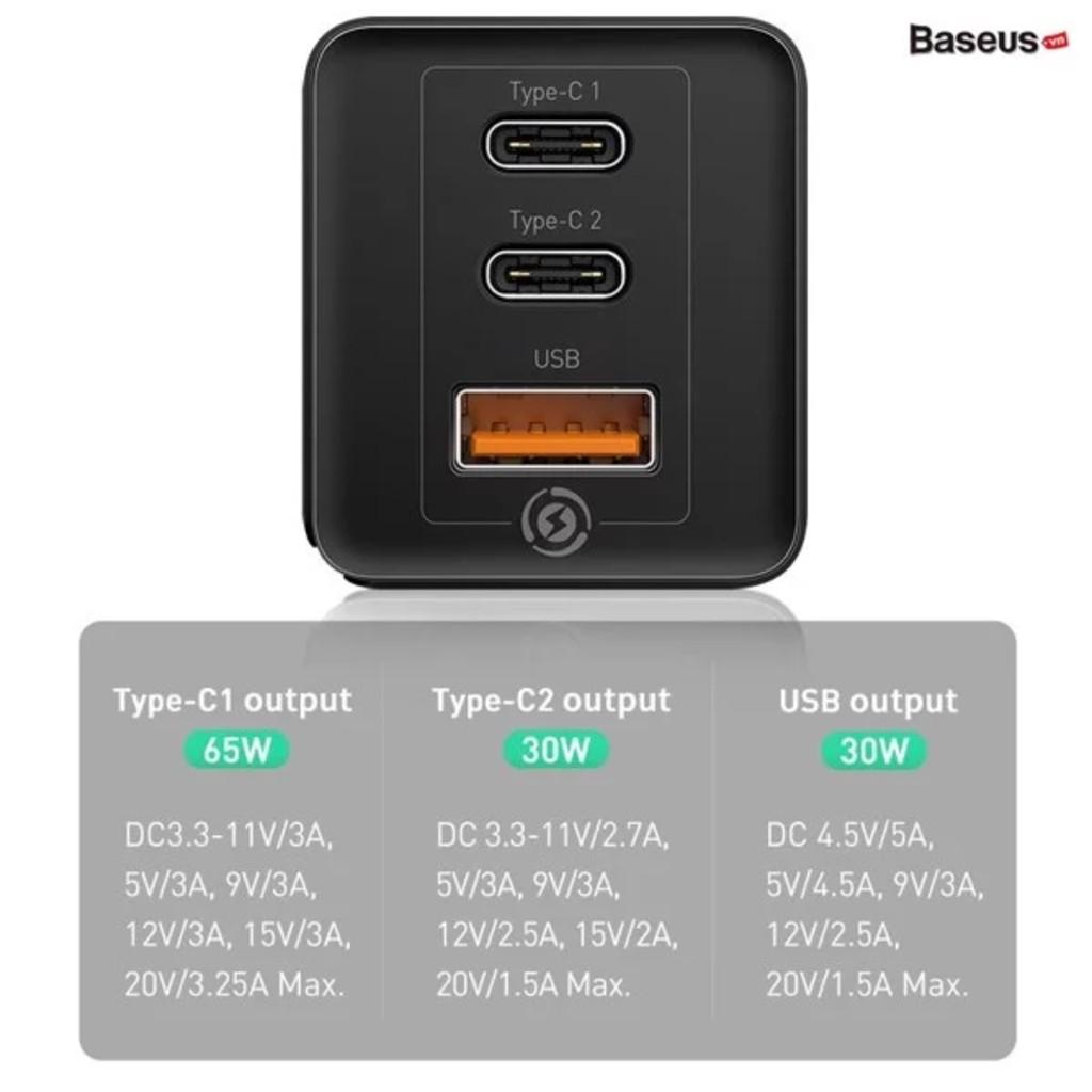 Củ sạc siêu nhanh 65W Baseus 1 cổng USB, 2 cổng Type-C Hỗ trợ QC 4.0, QC 3.0, PD 3.0 cho iPhone 11, Macbook, SamSung...