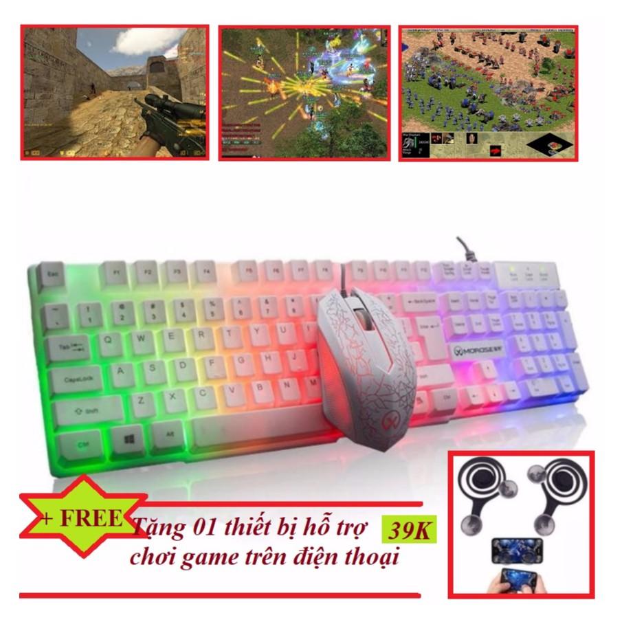 Bộ bàn phím và chuột chơi Game Led chuyên nghiệp G160 PRO mới (Trắng) + Tặng thiết bị hỗ trợ chơi ga