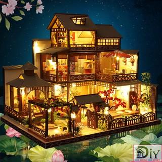 Mô hình nhà búp bê lắp ráp bằng gỗ DIY BIỆT THỰ NHÃ TUYỀN (Kèm dụng cụ keo + LED + MICA) – Quà tặng tự làm bằng gỗ