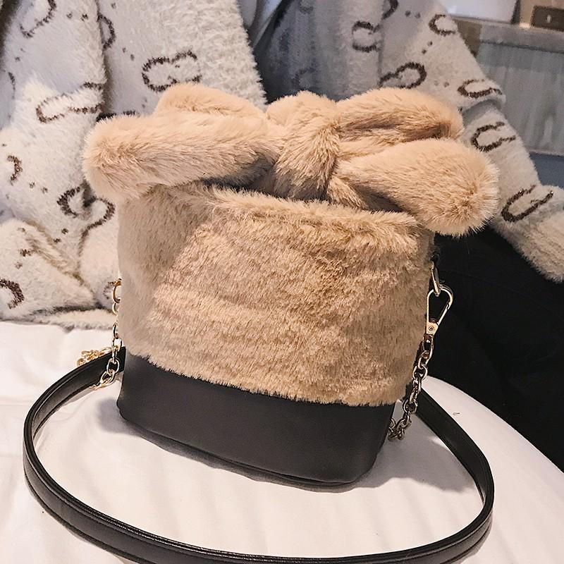 Hairy female bag cute tide portable luxury wild bucket bag Korean winter Qu
