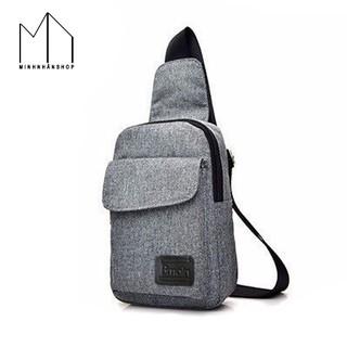 Túi đeo chéo ngực chất liệu Kaki thời trang cho nam nữ (Xám) thumbnail