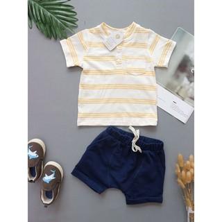 BT013-set quần áo bé trai kẻ vàng