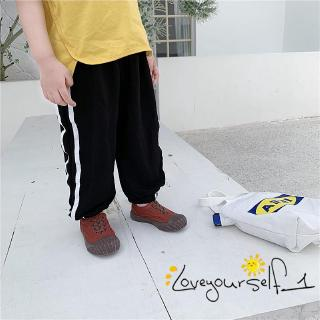 ♛loveyourself1♛-Little Kids Long Unisex Pants Striped Loose Pleated Elastic Band Design Trousers