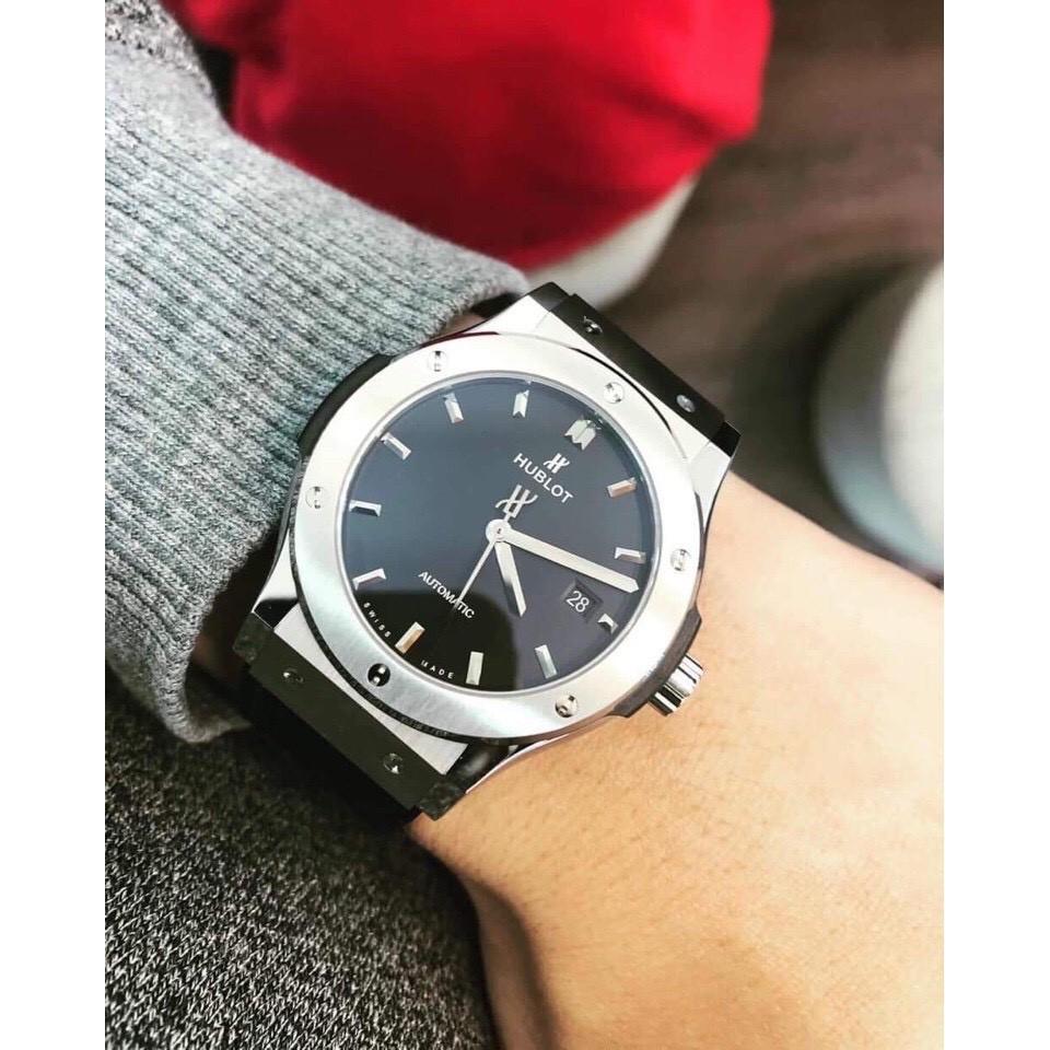 [Mã WTCHDEC giảm 20K ] Đồng hồ nam hublot viền trơn dây da mạnh mẽ nam tính kiểu dáng mới nhất chất lừ