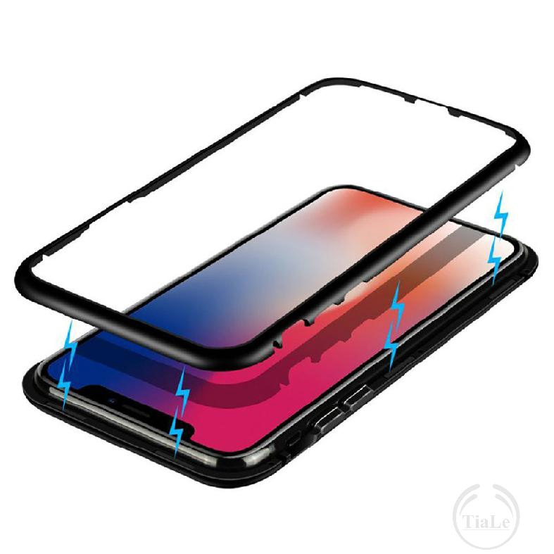 iphone X 7 8 6 Magnetic Metal case glass tempered Back cover 853