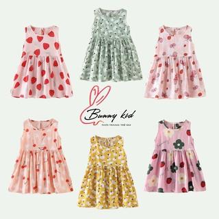 Váy lụa đũi bé gái mịn mát mặc hè, váy hoa bé gái hoạ tiết dễ thương