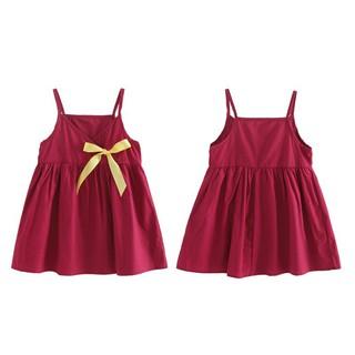 Đầm xòe hai dây có gắn nơ trang trí xinh xắn cho bé
