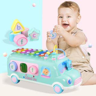 Đồ chơi xe bus thả hình khối kèm đàn pinano cho bé