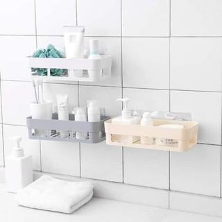 Kệ Nhựa Để Đồ Hình Chữ Nhật Dán Tường Nhà Tắm, Nhà Bếp Tiện Lợi