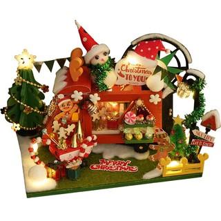 Kèm hộp quà và keo dán – Mô hình nhà gỗ búp bê Dollhouse DIY – TC12 The Christmas Shop