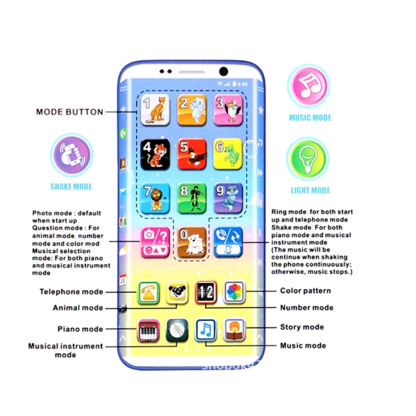 Y-Phone Multifunction Kids Charging Early Learning Machine Sound Music Toy