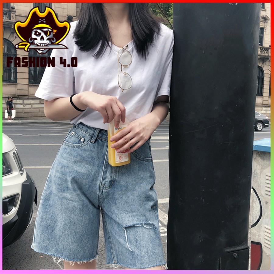 Quần Jean Ngố Nữ Rách Gấu Cá Tính Cạp Cao, Quần Bò Ngố Rách Sau ( Rách Mông ) Fashion 4.0