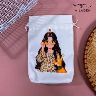 Túi vải dây rút mini Girl Ôm Gấu, đựng đồ tiện lợi, giữ đồ sạch sẽ, chống bụi, chống nước Miladen thumbnail