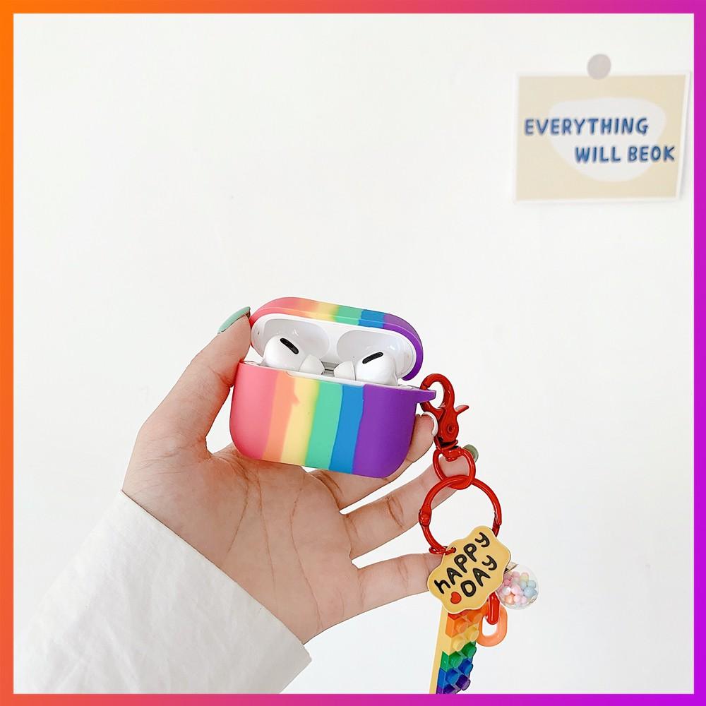 Vỏ bảo vệ hộp đựng tai nghe Airpods thiết kế có dây đeo màu cầu vồng kẻ sọc dễ thương