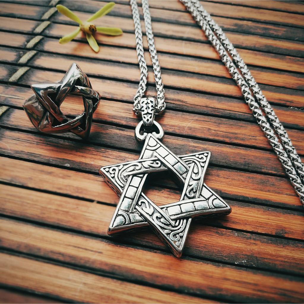 Vòng Cổ Nam [Star of David] mạ Bạc 925
