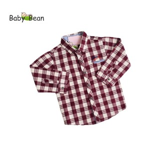 Áo Sơ Mi Cotton Ca Rô màu Nâu tay dài bé trai BabyBean