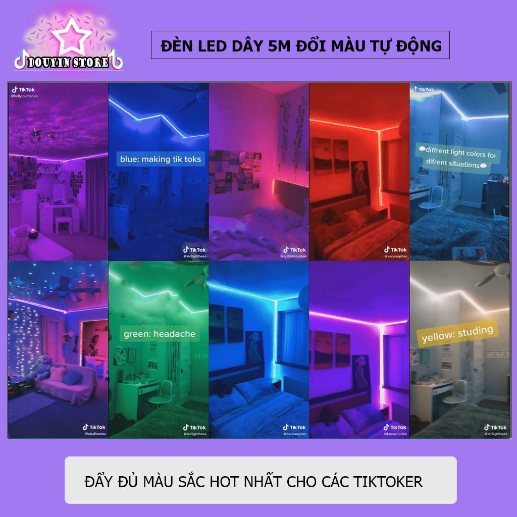 Đèn trang trí Decor phòng ngủ, Đèn Led dây dán TikTok chuyển màu dài 5m,10m nhấp nháy ĐUỔI THEO NHẠC - APP ĐIỆN THOẠI