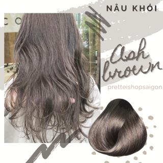 [kèm Trợ Nhuộm Ủ tóc] Kem nhuộm tóc màu NÂU KHÓI-Không Tẩy