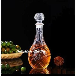 Bình Rượu Thủy Tinh Đẹp 1000ML - vỏ chai Rượu Trái Banh