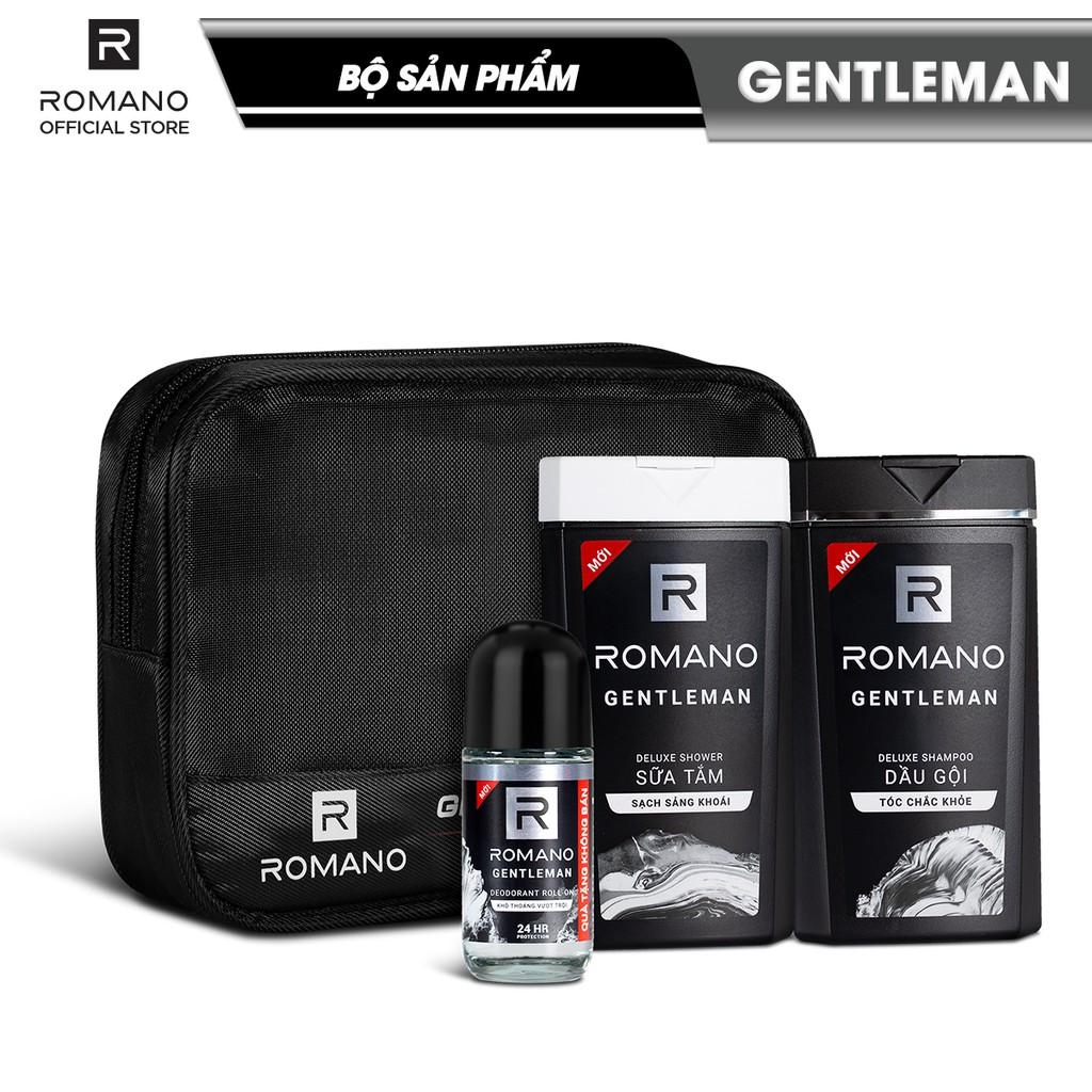 Bộ sản phẩm Romano Gentleman (dầu gội 180gr + sữa tắm 180gr + lăn khử mùi 40ml)