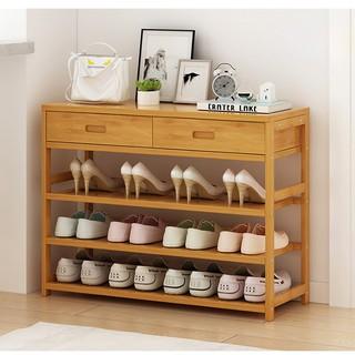 Kệ giày bằng tre 3 tầng có 2 ngăn tủ trên 80x25x58 (size80 ...