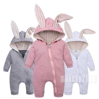 Mu♫-Newest Fashion Autumn Infant Baby Boy Girl Clothes Rabbit Ears Jumpsuit Overall Outfit 0-24M