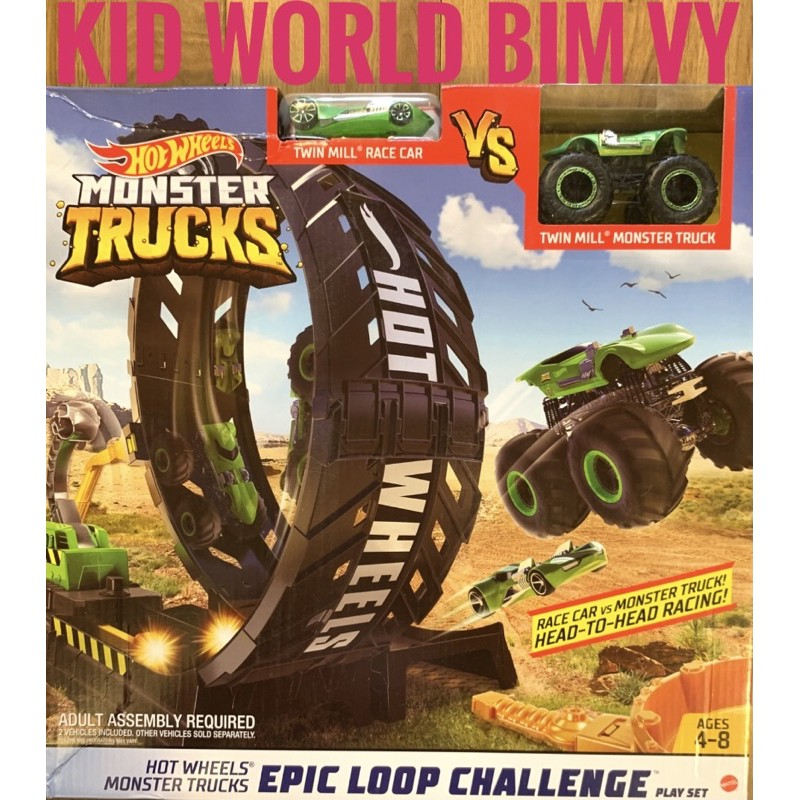 Bộ đường ray đua Hot Wheels Monster Trucks Twin Mill Set GKY00.