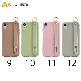 【Chất lượng tốt】 For OPPO F11 pro Simple Solid Color Chic Wrist Rope Bracket Matte TPU Anti-scratch Non-slip Protective Cover Back Case