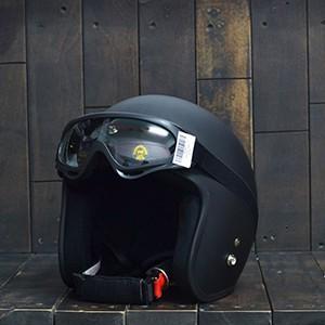 Mũ Bảo Hiểm 3/4 Đen Trơn Kèm Kính Chống Tia UV Bảo Vệ Đầu 100% | Mũ Nhựa ABS Độ Bền Cao -BH 12 Tháng